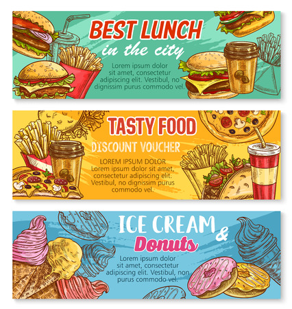 Vector sketch banner fast food restaurant menu
