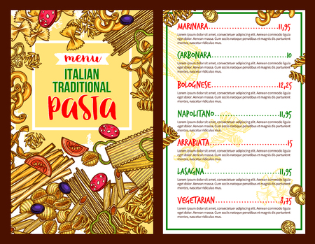 Pasta Italian restaurant vector menu template