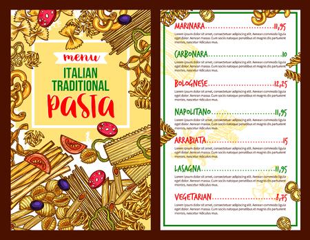 Pasta italiano menu del menu vettoriale ristorante Archivio Fotografico - 87271206