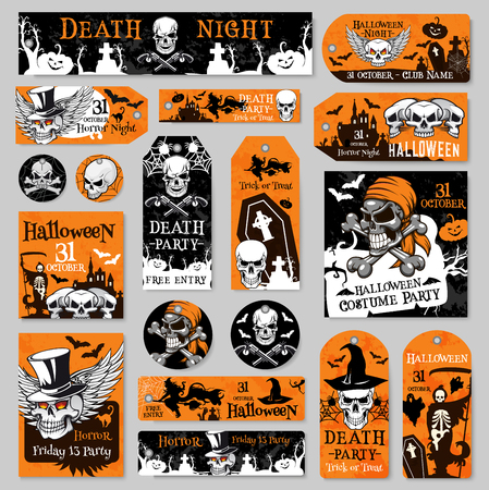 Halloween tag and label fot holiday party design Illustration
