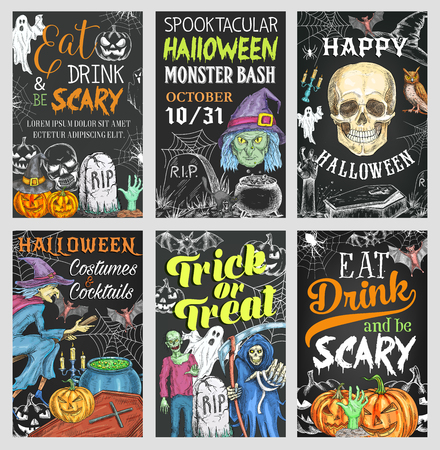Halloween holiday trick or treat party banner Illustration