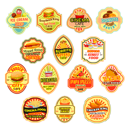 Vector icons for fast food restaurant menu 向量圖像