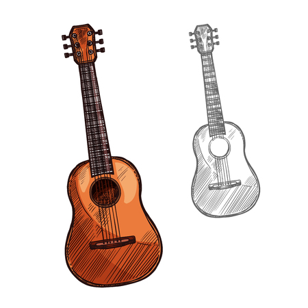 Vector sketch acoustic guitar musical instrument
