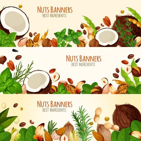 Banners de vector de nueces y semillas de frutas Foto de archivo - 87339494