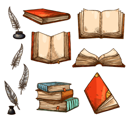 Vector icons of old books and manuscripts sketch Illustration