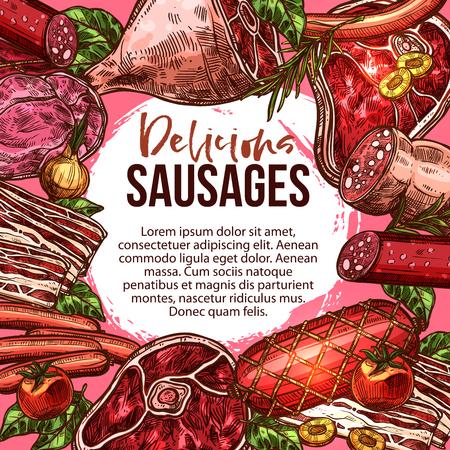Vector sketch poster of sausage delicatessen Stok Fotoğraf - 87271216
