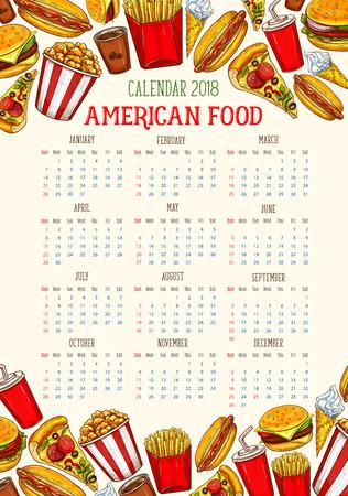 Vector fast food calendar 2018 template sketch Illustration
