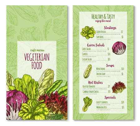 Vector vegetarisch café menu schets salade groenten Stock Illustratie