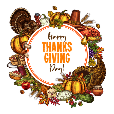 Happy Thanksgiving day vector sketch poster