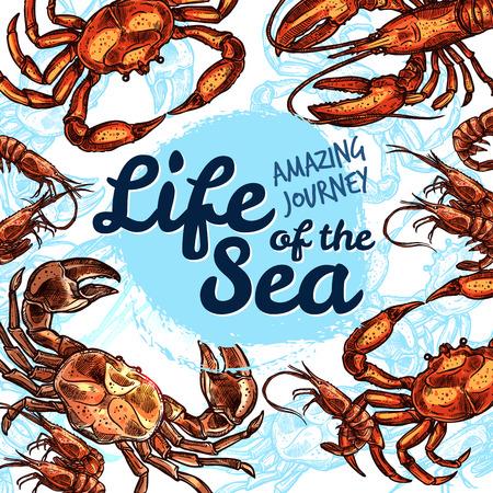 Vector zee leven poster van vis schets oceaan dieren Stock Illustratie