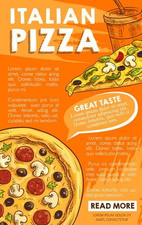 Iltalian ピザのベクトル ポスター スケッチ ファーストフード