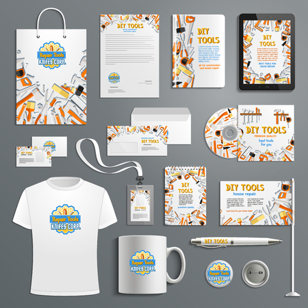 Corporate identity vector items with work tools
