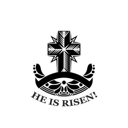 부활절 그는 교회 크로스 벡터 아이콘 상승했다 일러스트