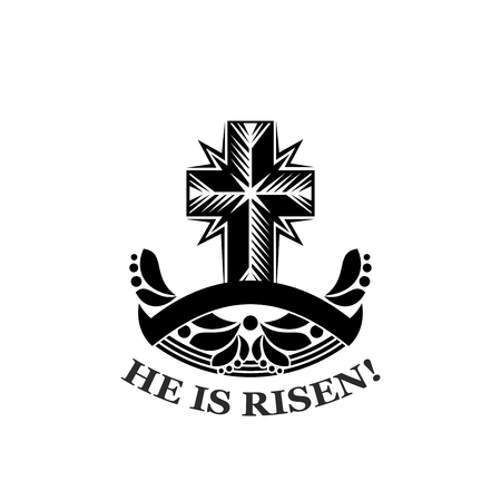 Easter He is Risen church cross vector icon