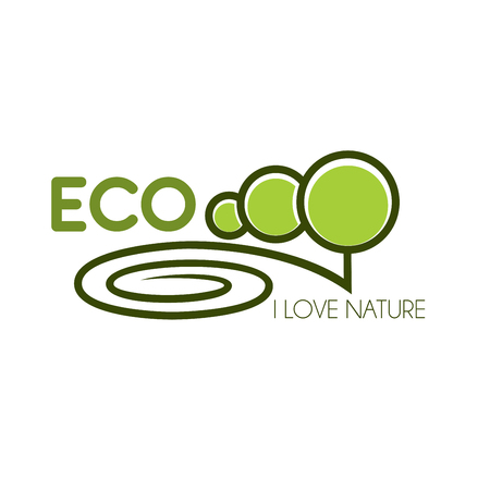 Green tree icon for eco environment nature love Vektorové ilustrace