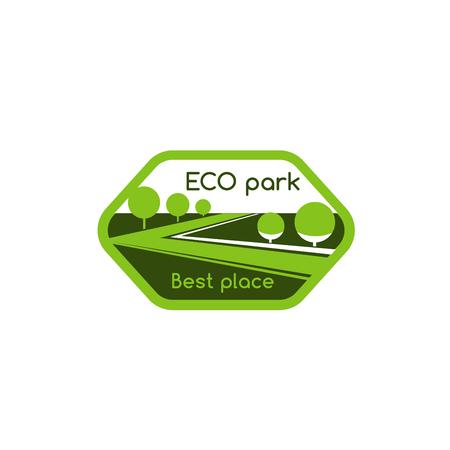 Groene bomen van eco park dorp vector pictogram