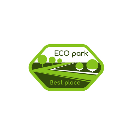 Green trees of eco park village vector icon