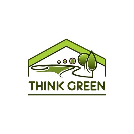 Groen milieu eco huis boom park vector pictogram