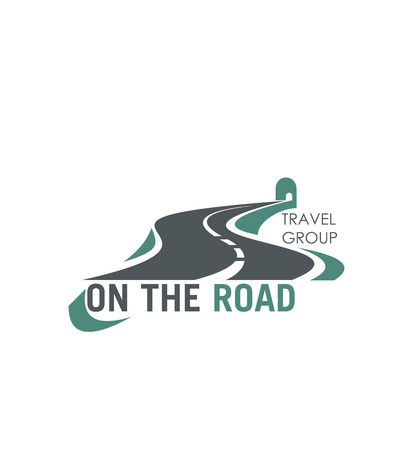 Travel group road tourism vector highway icon Illustration