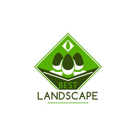 Groen landschap tuinieren bedrijf boom vector pictogram