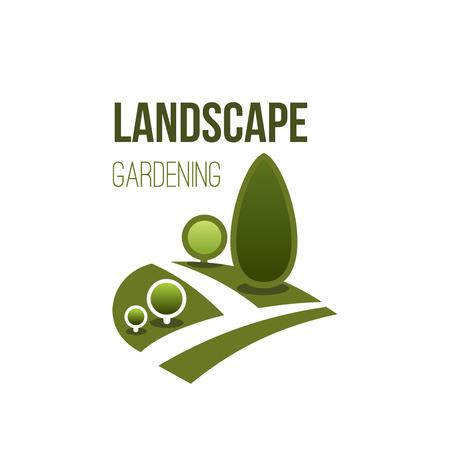 Groen vector het pictogramlandschap van het boompark tuinieren Stock Illustratie