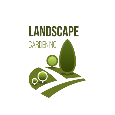 Green tree park vector icon landscape gardening Vectores