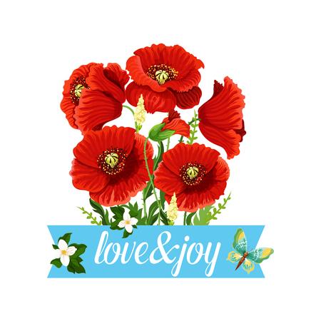 Bouquet de fleurs de pavot vector icon floral de printemps Banque d'images - 87836679