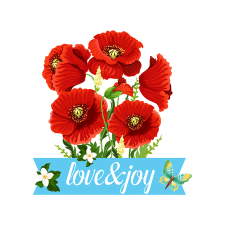 Poppy flowers bouquet vector spring floral icon Stok Fotoğraf - 87836679