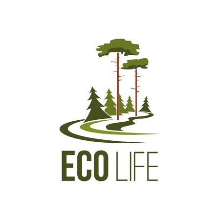 Bosboom eco life groene omgeving vector pictogram