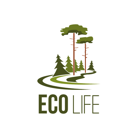 Forest tree eco life green environment vector icon
