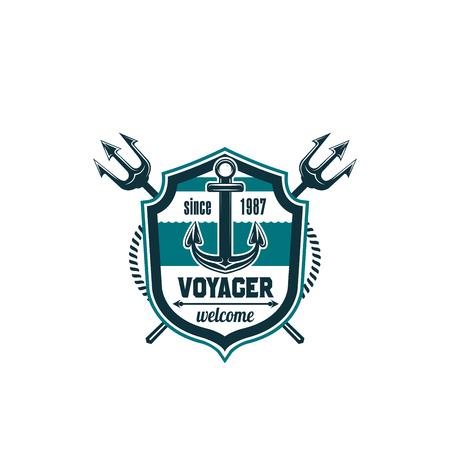 Marine seafarer anchor trident vector icon