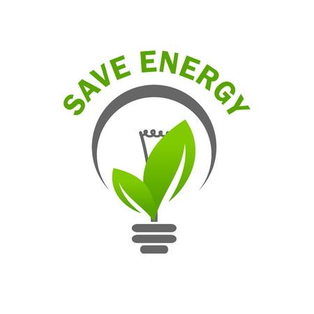 Green leaf light lamp bulb save energy vector icon