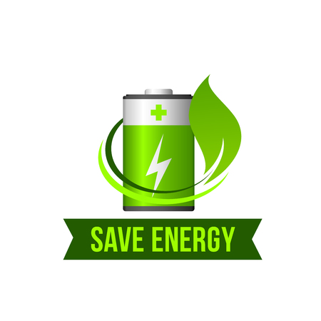 Save green energy leaf battery vector icon Illustration
