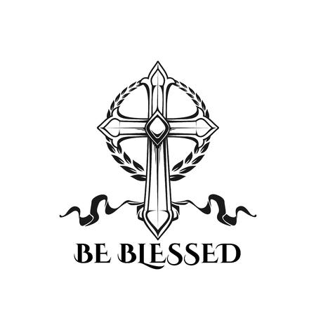 부활절 십자가 축복받은 벡터 종교 견적 아이콘