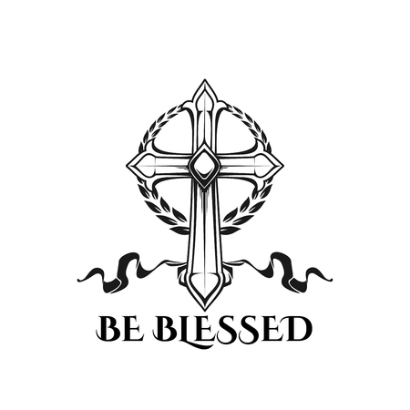 Easter cross be blessed vector religion quote icon Illustration