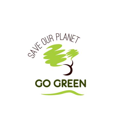 Ga groen sparen de boom vectorpictogram van de planeetecologie