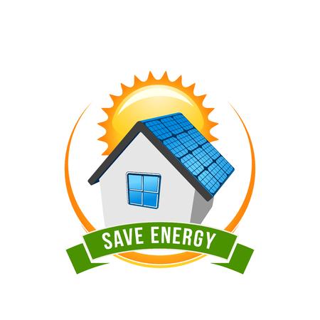 Green energy save solar house vector icon Vectores