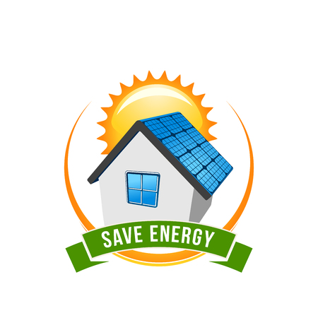 Green energy save solar house vector icon Çizim