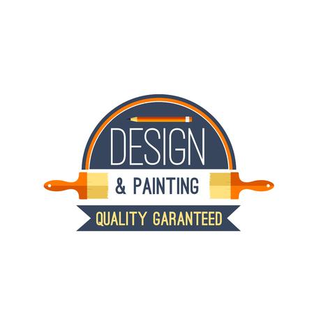 벡터 페인트 브러시 및 페인트 디자인 벡터 아이콘 일러스트