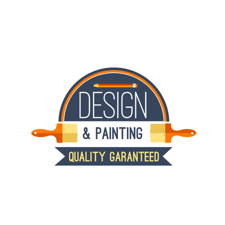 Vector painting brush and paint design vector icon