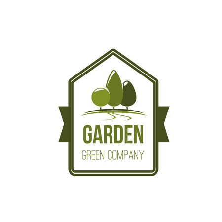 Garden green tree eco landscape park vector icon