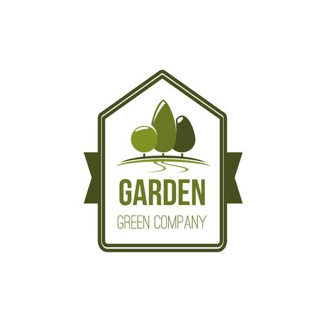 Tuin groene boom eco landschapspark vector pictogram