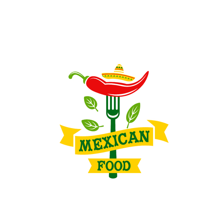 Chili pepper jalapeno Mexican food vector icon
