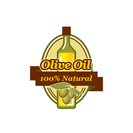 Natural olive oil green olive vector icon
