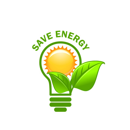 Green leaf sung and lamp save energy vector icon Çizim
