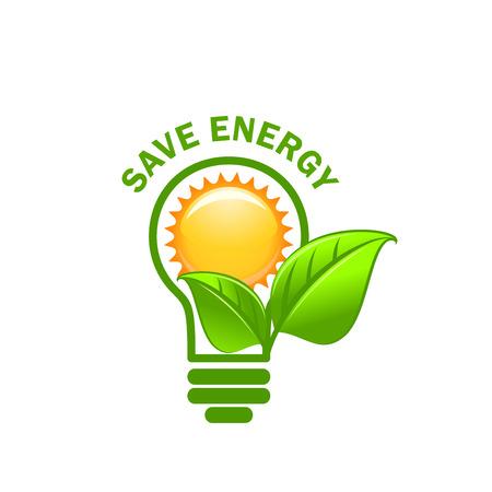 Groene blad gezongen en lamp energie vector pictogram opslaan