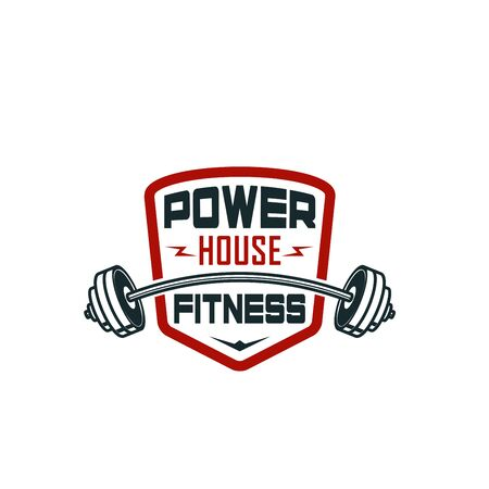Barbell gym fitness bodybuilding club vector icon Illustration