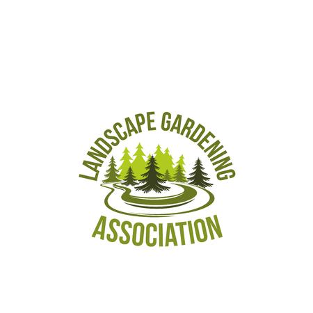 Groen boomlandschap die vectorpictogram tuinieren Stock Illustratie