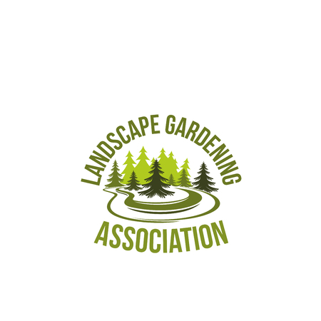 Green tree landscape gardening vector icon