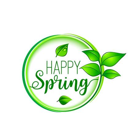 Feuille verte heureux printemps floraison vecteur icône Banque d'images - 87837638
